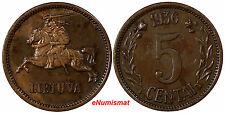 Lithuania Bronze 1936 5 Centai XF Condition 1 YEAR TYPE KM# 81
