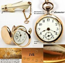 Antique Victorian 14K Gold Pocket Watch, Carved Hand: F Piguet & Bachmann Geneva
