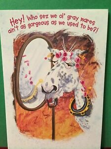 Leanin' Tree Birthday Card - Theme Ol' Gray Mare -  Inventory #1153