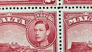 "1938 Malta 2d VARIETY ERROR in Block ""Curl's on head"" SG221b MNH"
