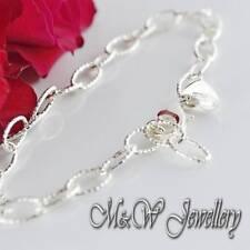 Sólido 925 plata esterlina pulsera de enlace Oval corte Diamont con un encanto del corazón