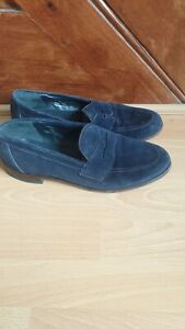 LOAKE Shoemakers Classic Navy Suede ETON Slip on Shoe. F Fit, leather sole UK 11