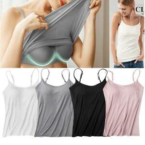 Women's Camisole with Built in Shelf Bra Spaghetti Strap Vest Padded Tank Tops