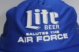 Vintage RARE Miller Lite Beer Salutes The Air Force Royal Blue Ball Cap Hat