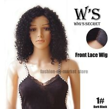 44cm Long Glueless Lace Front Wig Wavy Curly Wigs Women Synthetic Bob Hair Black