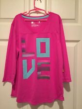 """JCPenney Xersion Girl's Top / Shirt Pink """"Love"""" 3/4 Sleeve XL 18 1/2 Plus NWT"""