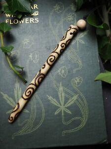 Avalon Ash Wood Spiral Wand Pendant - Pagan, Witchcraft - Travel Wand