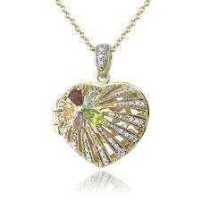 18K Vergoldet Multi Edelstein & Diamant Akzent Blume Herz Medaillon-halskette