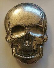 2 oz .999 Silver hand poured Skull art bar memento mori human skeleton