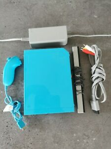 Limited Edition Blue Nintendo Wii Console With Wires And Nunchuck - Tested