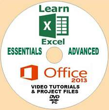 LEARN MICROSOFT OFFICE 2013 EXCEL BEGINNERS-ADVANCED VIDEO TRAINING PC DVD NEW