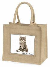 Silver Tabby Cat 'Love You Mum' Large Natural Jute Shopping Bag Ch, AC-187lymBLN