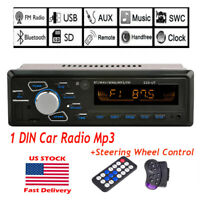 1 DIN FM Car Stereo Radio Bluetooth In Dash Handsfree SD/USB AUX Head Unit 12V