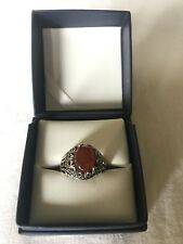 Men Ring STERLING SILVER 925 Natural  Red AGATE AQEEQ Size 9.5