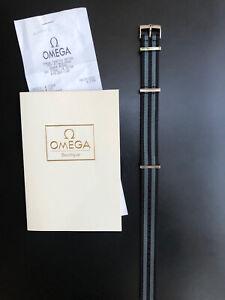 Omega OEM Nato Strap 20mm Polyamide 5-Stripe Black & Gray