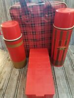 Vintage Aladdin Thermos Set Red Plaid Picnic Bag Set Plastic Sandwich Lunchbox.