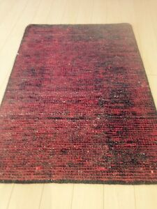 Spectacular Hand Made Area Rug Red/Black Kilim Solid Flat Woven Dhurrie 8x10