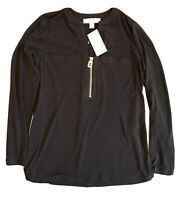 Michael Kors Women's Black Long Sleeve Blouse Pockets Gold Zipper Size S