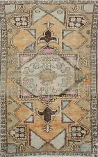 Vintage Tribal Geometric Anatolian Wool Area Rug Hand-Knotted Turkish Carpet 3x6