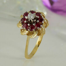 Markenlose Echte Edelstein-Ringe aus Gelbgold mit Rubin für Damen