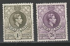 SWAZILAND 1938 KGVI 1/- AND 2/6 PERF 13.5 X14