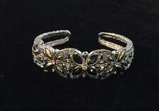 Two Tone Rhodium Plated Cuff Bracelet w Black Stones