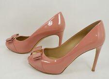 $700+ SALVATORE FERRAGAMO Plum Peep Toe Patent Leather Pump Shoes Blush Pink 7 B
