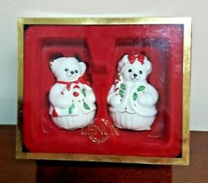 Lenox China Set of Christmas Teddy Bear Salt & Pepper Shakers Shaker
