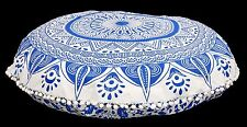 """Large Indian Meditation Floor Pillow Cover 32"""" Blue Ombre Mandala Round Cushion"""
