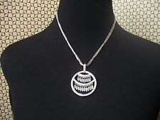 NOLAN MILLER NECKLACE Silvertone Faux Pearl & Crystals on 3 Strands Chain. NEW