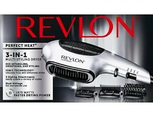 Revlon Perfect Heat 3-in-1 Multi Styling Hair Dryer with 3 Attachments, Silver
