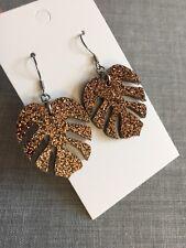 Monstera Leaf Dangle Earrings, Brown / Bronze Glitter Acrylic Surgical Hooks