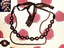 Super lang oder halsnah tragbares,2-reihiges Perlencollier von LBVYR,Kupferbraun