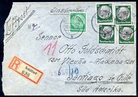 GERMANY TO CHILE Air Mail Registered Cover 1936 VF