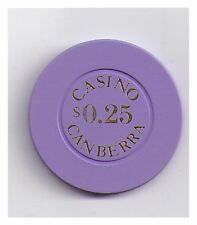 25c Casino Canberra - Purple Casino Chip with Gold Print