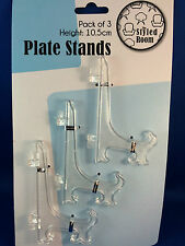 Plate Stand Clear 3 x Small 10.5cm Plate Display Stands Plastic Easel Style New