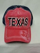 Women's Vintage Baseball Hat Texas Cap w Rhinestones Red Adjustable