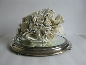 GORGEOUS ANTIQUE VINTAGE BRIDAL WAX WEDDING BOUQUET FOR DISPLAY ROSES