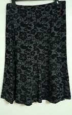 NEW M&S 14-22 Mock Lace Floral Fit & Flare Velvet Midi A-Line Skirt Black Grey