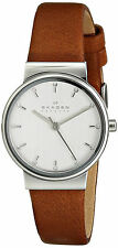 Skagen SKW2192 Ancher Silver Dial Tan Leather Strap Women's Watch