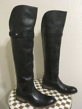Lucchese Women Rustic Black Leather Riding Tall Knee Pull On Boots Sz 7.5 B