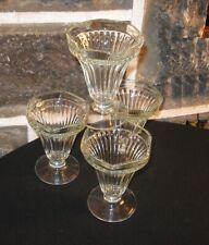 Vintage ice cream sundae glasses lot of 4  Old Jannette glass