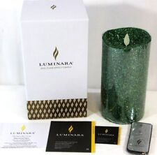 """Luminara Real Flame-Effect Flameless Candle 7"""" Glitter Green & Remote NEW in BOX"""