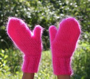Premium Longhair Mohair Mittens hand knit Jane Rodas Pink Men Women not brushed