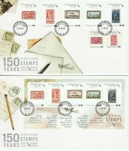 NEW ZEALAND 2005 150th STAMP ANNIV Full Set of 6 FDC in NEW condition