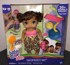 NIB Baby Alive Super Snacks Snackin' Noodles Baby Doll - Brunette Talking Poops