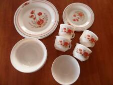 Vintage 20 piece French Arcopal Red Poppy Dinner Set