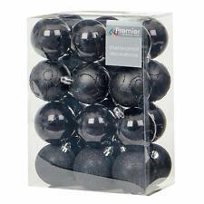 Christmas Tree Decoration 24 Pack 60mm Shatterproof Baubles - Black