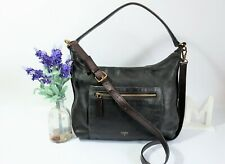 """FOSSIL """"Vickery"""" Crossbody Shoulder Bag Slouchy Hobo Large Black Leather ~ GC"""