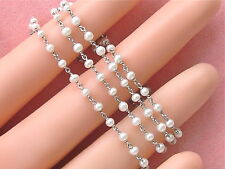 """ANTIQUE STYLE 2.4 - 2.7 mm PEARL PLATINUM 15-3/4"""" CHAIN NECKLACE"""